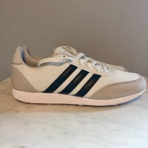 ADIDAS Women's V Racer 2.0 White w/ Black Stripes